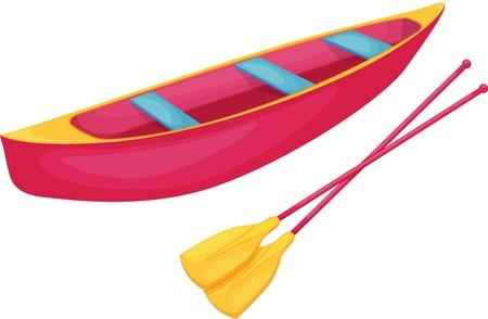 oars: Canoe on a white background