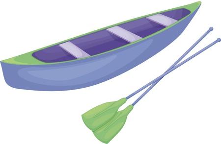 pirag�ismo: Canoa en un fondo blanco (azul y verde)