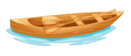 small boat: Open Canadian canoe on water