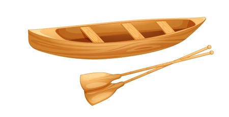 oars: Open Canadian canoe on white