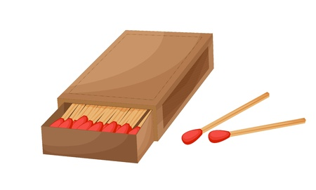 Box of matches on a white background Vector