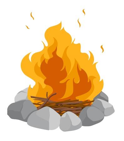 brandweer cartoon: Geïsoleerde kampvuur op een witte achtergrond
