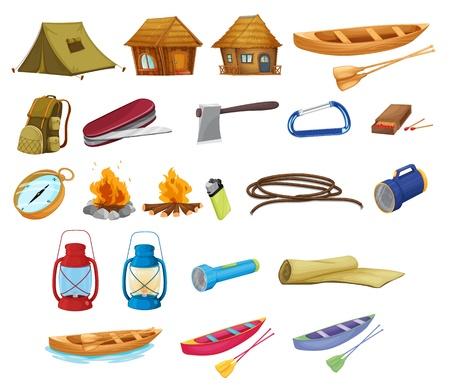 moschettone: Set di attrezzature da campeggio dettagliate su bianco Vettoriali