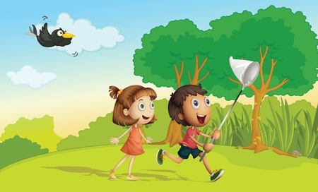 atrapar: Ni�os corriendo en el parque con la red Vectores
