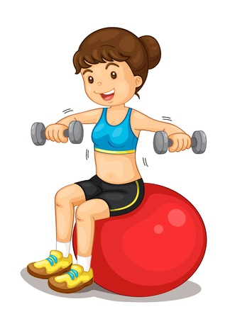 Fitness girl exercising with weights Vector