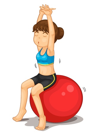 Fitness girl exercising and strectching Vector