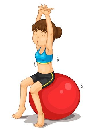 Fitness meisje oefenen en strectching Vector Illustratie