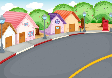 suburb: Cartoon style neighbourhood next to road Illustration
