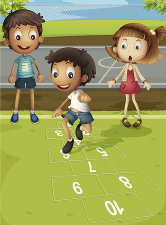 family outside: Kids playing hopscotch in park Illustration