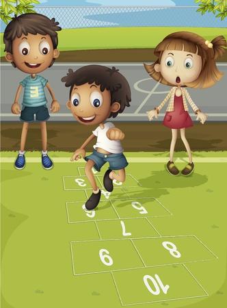 hermanos jugando: Niños jugando a la rayuela en el parque Vectores
