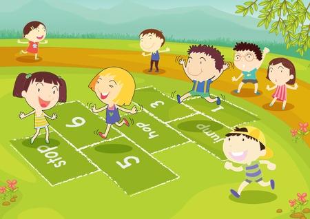 niños en area de juegos: Tierra de amigos jugando a la rayuela en el parque Vectores