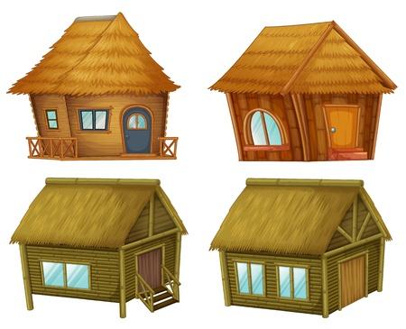 Holzhütten auf weißem Hintergrund Vektorgrafik