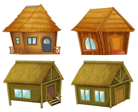 thatched roof: Wooden cabins on a white background