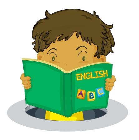 Young boy reading an English book Vector