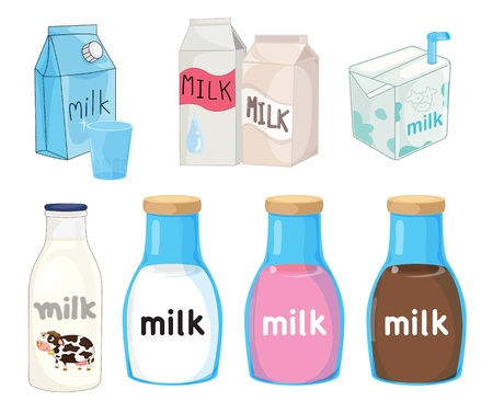Collection of assorted milks on white Vector