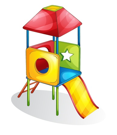 kid s illustration: Isolated play equipment on white