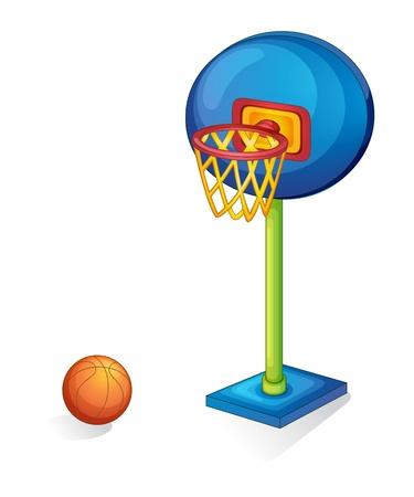 košík: Basketbal kroužek a kulička na bílém