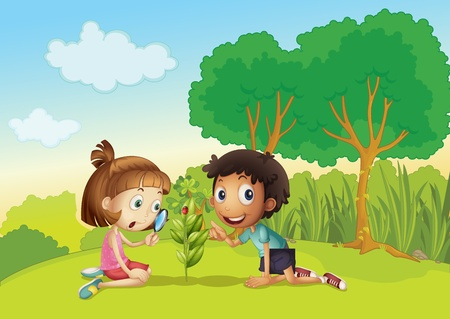 Science kids in the park Vector