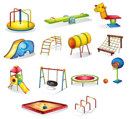 children playground: Collection of isolated play equipment