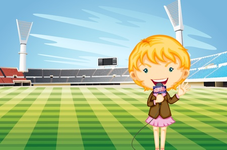 affairs: Tv reporter at a sports stadium Illustration