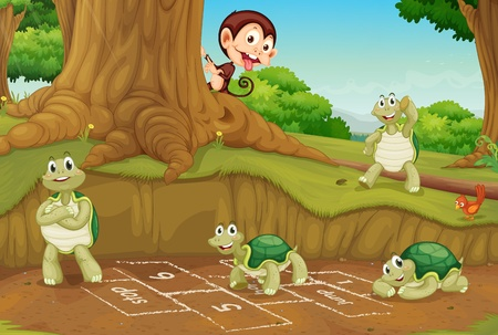 Turtles playing hopscotch on white Illustration