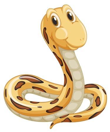 slither: Cute snake on a white background Illustration
