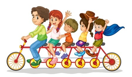 Family teamwork on a multiple seat bike Vector