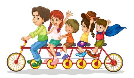 multiple family: Family teamwork on a multiple seat bike Illustration