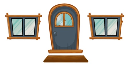 glass doors: Isolated windows and a door on white