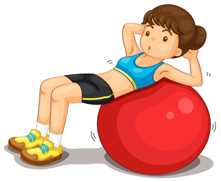 situps: Fitness girl exercising doing situps