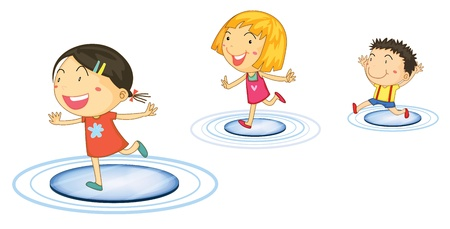 Illustration of kids jumping from circle to circle illustration