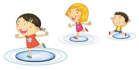 woman running: Illustration of kids jumping from circle to circle