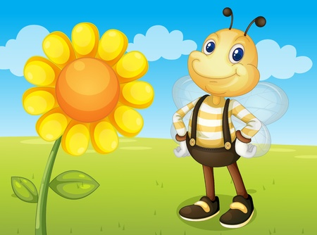 illustration of a bee and a flower Stock Vector - 13376870