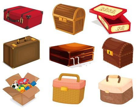 Una colección de bolsas y cajas de diferentes Ilustración de vector