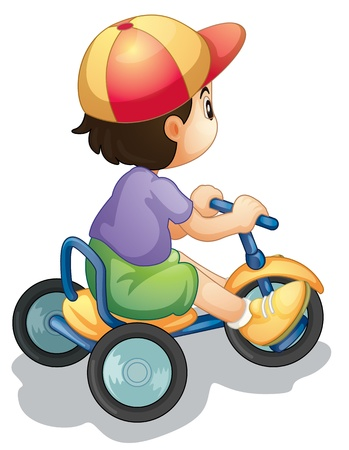 Illustration of a child riding a bicycle on white Stock Vector - 13376858