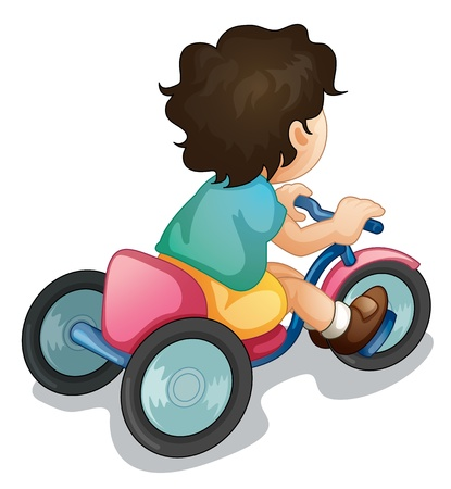 Illustration of a child riding a bicycle on white Vector