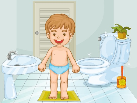 plant stand: Illustration of a young boy in a bathroom Illustration