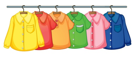 shirts on hangers: Rack on clothes on white Illustration