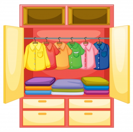 Wardrobe with clothes on white Vector
