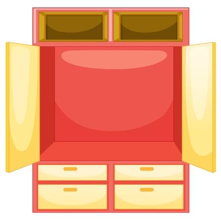 гардероб: Пустой шкаф на белом фоне