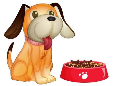 obedecer: Ilustración de un perro sentado al lado de su comida