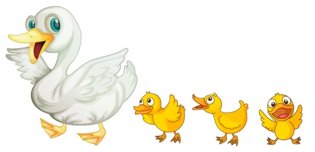 Illustration of a mother duck and her ducklings Vector
