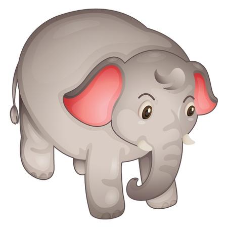 Elefante simple sobre un fondo blanco Ilustración de vector