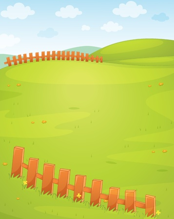 rolling landscape: Illustration of an empty field