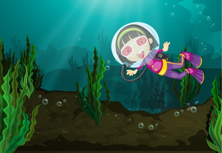 Girl diving in freshwater habitat Vector