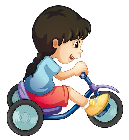 Illustration of a child riding a bicycle on white Stock Vector - 13376875