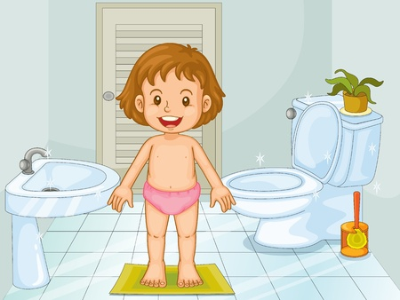 plant stand: Illustration of a young girl in a bathroom