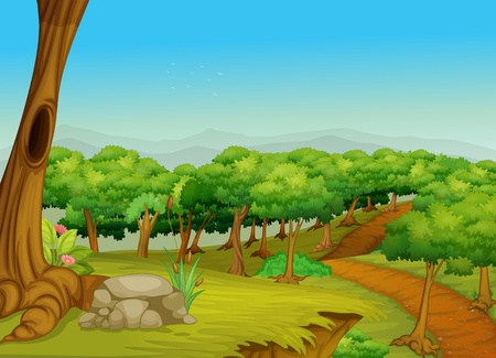 Illustration of a dirt path in the forest Vector