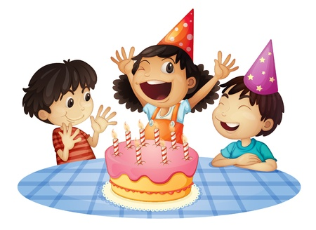 small group of objects: Young kids at a birthday party Illustration