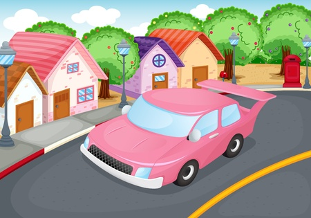 suburb: illustration of a car driving on a road
